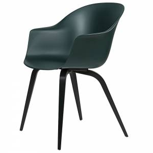 Bat Unupholstered Dining Chair - Dark Green, Black Stained Beech Base