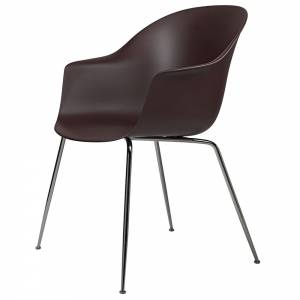 Bat Unupholstered Dining Chair - Dark Pink, Black Chrome Base