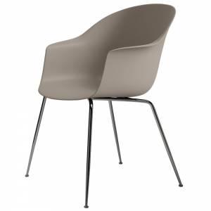 Bat Unupholstered Dining Chair - New Beige, Black Chrome Base