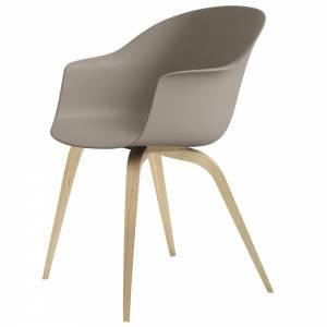 Bat Unupholstered Dining Chair - New Beige, Oak Base