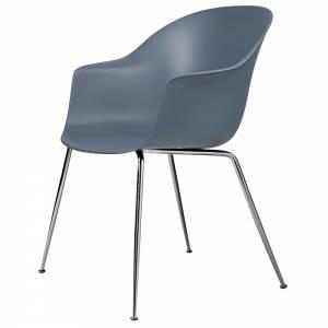 Bat Unupholstered Dining Chair - Smoke Blue, Chrome Base