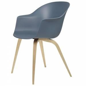 Bat Unupholstered Dining Chair - Smoke Blue, Oak Base