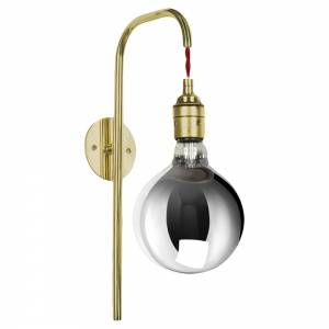 Big Bulb Wall Sconce - Polished Brass, Red Silk Braided Flex
