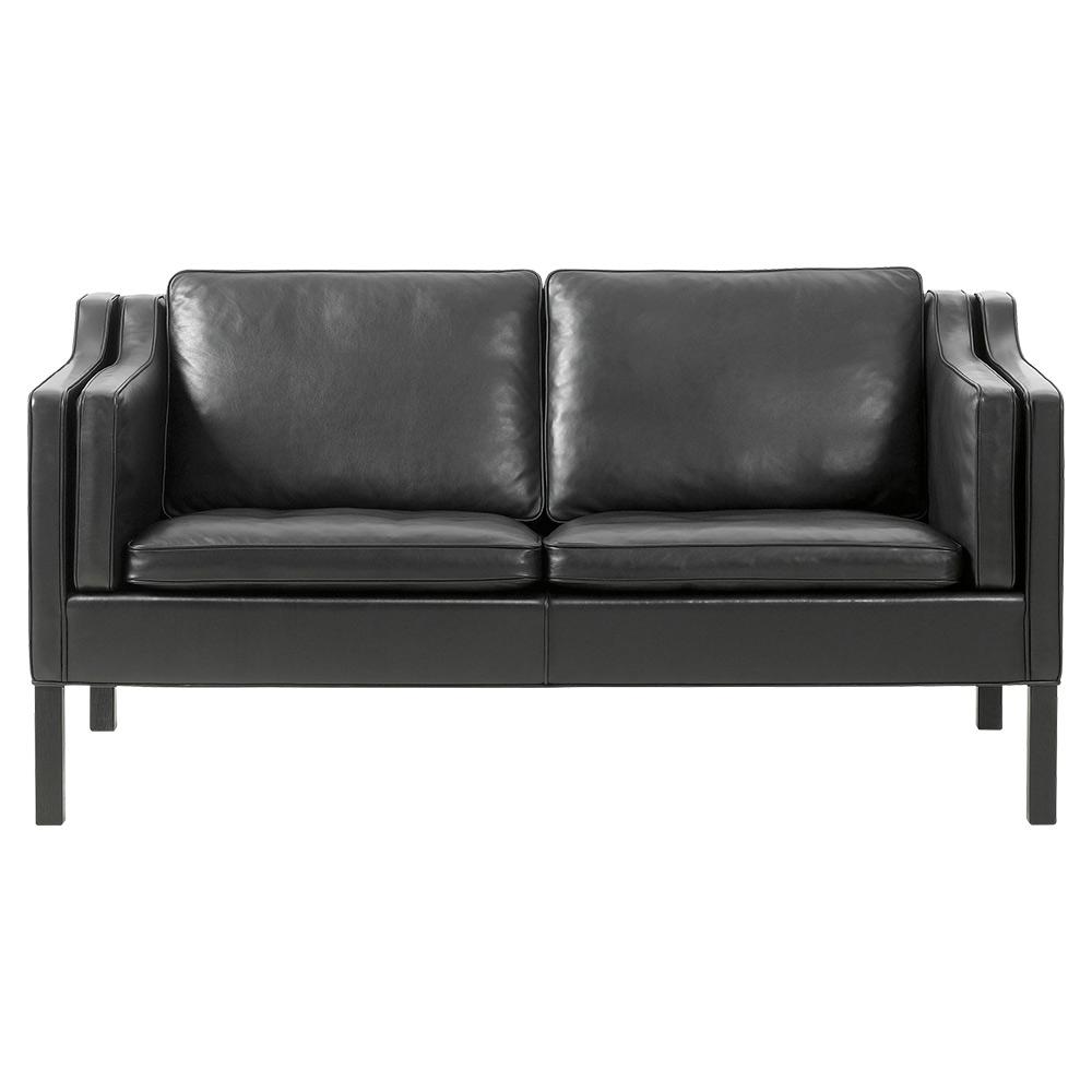 Tremendous Mogensen 2212 2 Seater Sofa Leather Black Oak Machost Co Dining Chair Design Ideas Machostcouk