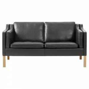 Mogensen 2212 2 Seater Sofa - Leather, Oiled Oak