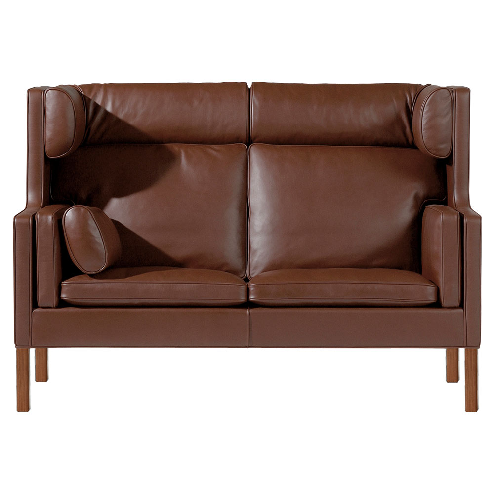 Mogensen 2292 Coupe Sofa - Leather, Lacquered Walnut