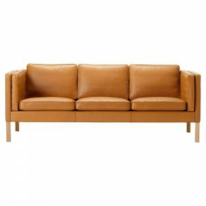 Mogensen 2333 3 Seater Sofa - Leather, Oiled Oak