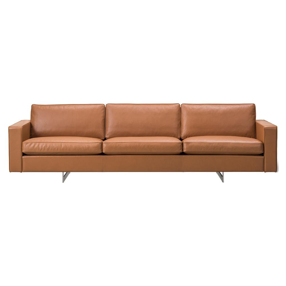 Risom 65 3 Seater Sofa - Leather, Metal Base