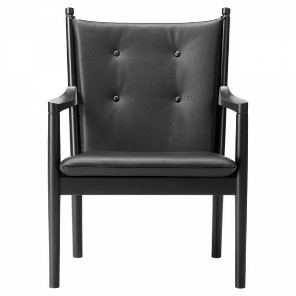 Sensational Wegner 1788 Easy Chair Leather Black Oak Inzonedesignstudio Interior Chair Design Inzonedesignstudiocom