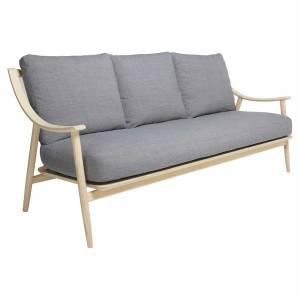 Marino Large Sofa - Gray Fabric Cushion, Natural Ash Frame