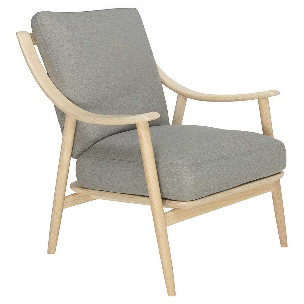 Marino Lounge Chair Gray Fabric Cushion Natural Ash Frame Rouse Home