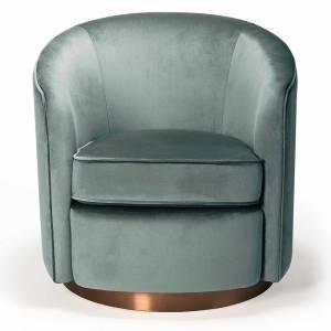 Swivel 1 Seater Sofa - Aqua Velvet