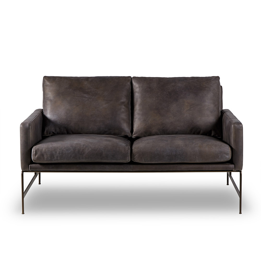 Vanessa 2 Seat Sofa - Destroyed Black Leather